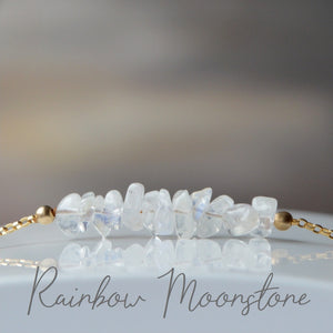 Raw Rainbow Moonstone Bracelet, June Birthstone