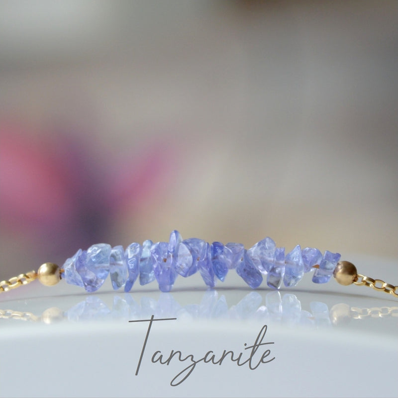 Raw Tanzanite Bracelet, December Birthstone