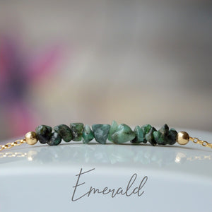 Raw Emerald Bracelet, May Birthstone