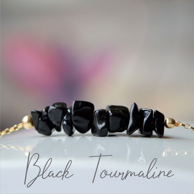 Raw Black Tourmaline Bracelet (Schorl), October Birthstone