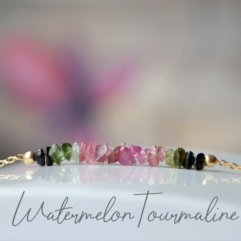 Raw Watermelon Tourmaline Bracelet, October Birthstone