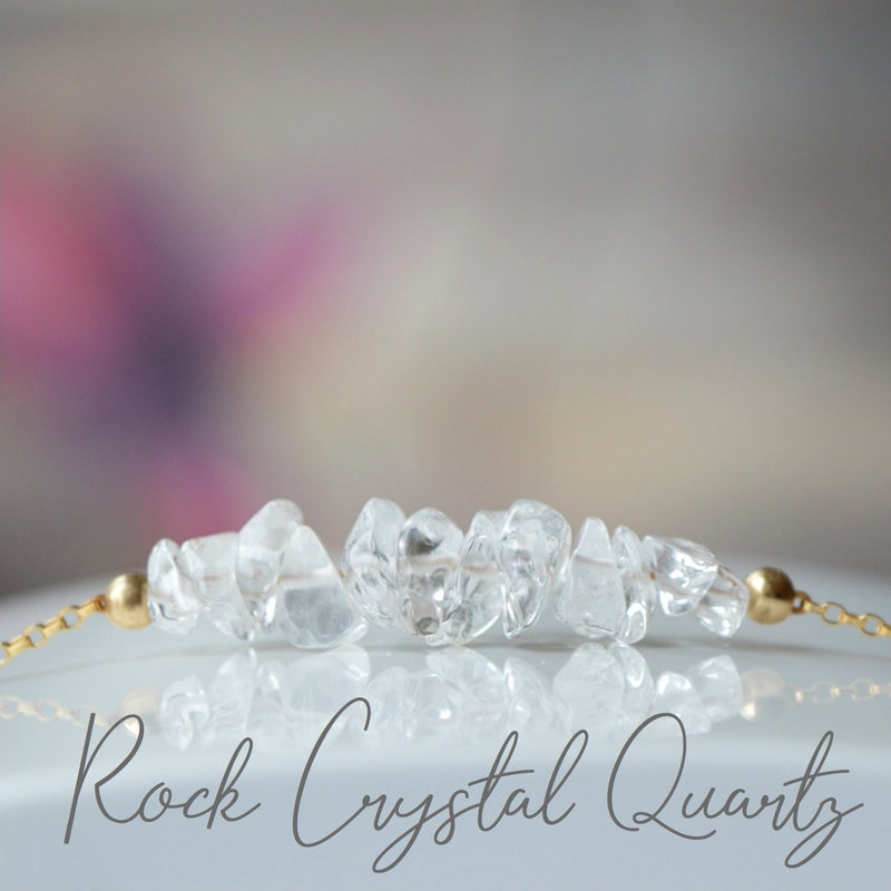 Raw Rock Crystal Bracelet (Clear Quartz), April Birthstone