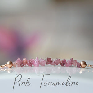 Raw Pink Tourmaline Bracelet, October Birthstone