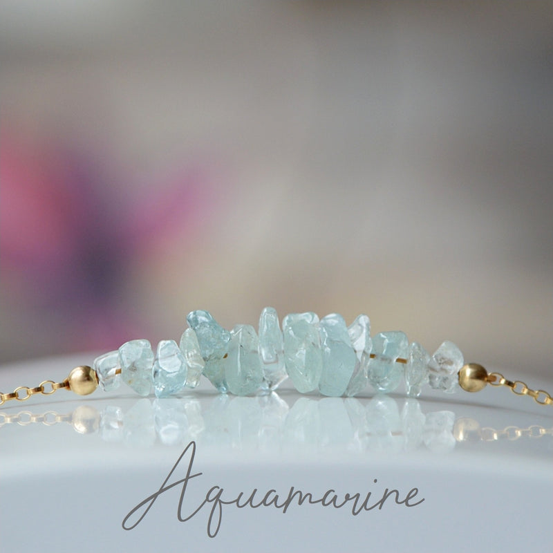 Raw Aquamarine Bracelet, March Birthstone