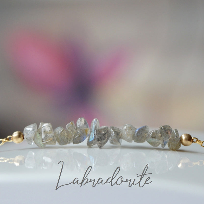 Raw Labradorite Bracelet, Alternative February Birthstone