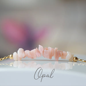 Raw Pink Opal Bracelet, October Birthstone