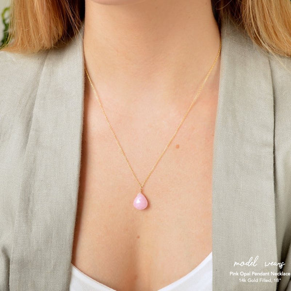 Large Pink Opal Pendant Necklace - Boutique Baltique