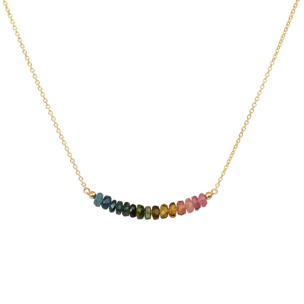 Watermelon Tourmaline Necklace in Gold by BoutiqueBaltique