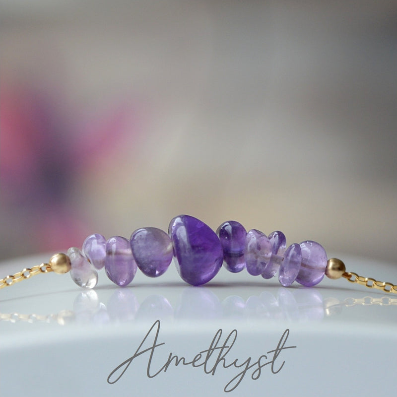 Raw Amethyst Bracelet, February Birthstone