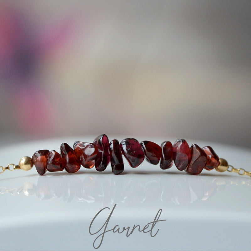 Raw Garnet Bracelet, January Birthstone