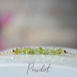 Raw Peridot Bracelet, August Birthstone