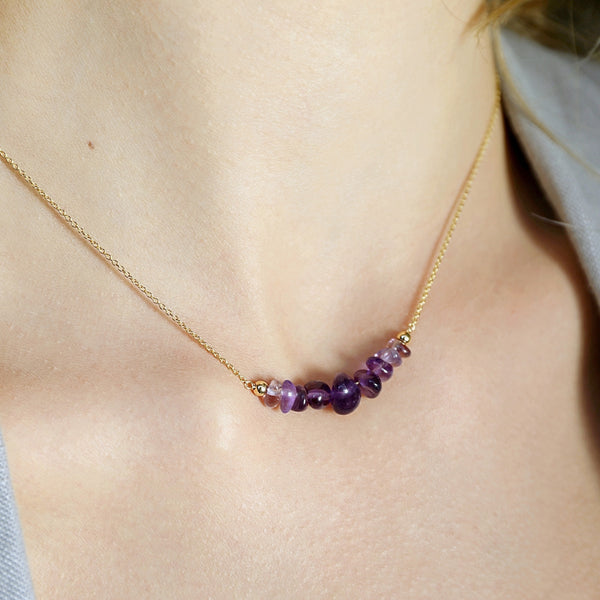 Raw Amethyst Bar Necklace in gold - Jewlery by Boutique Baltique