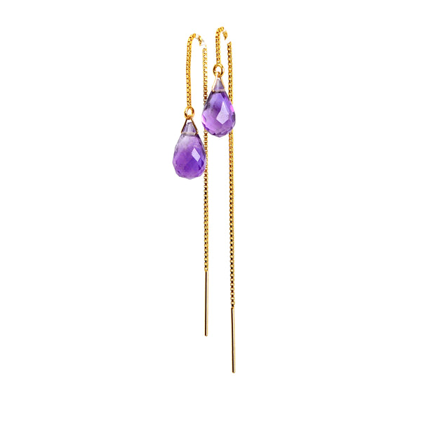 Amethyst Drop Threader Earrings