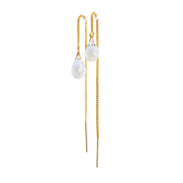 Aquamarine Drop Threader Earrings