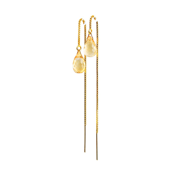 Citrine Drop Threader Earrings