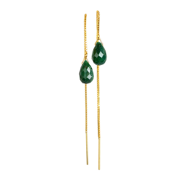 Emerald Drop Threader Earrings