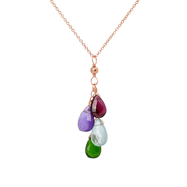 Cascade Family Necklace with 4 birthstones