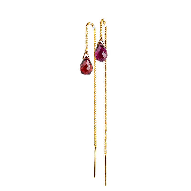 Garnet Drop Threader Earrings