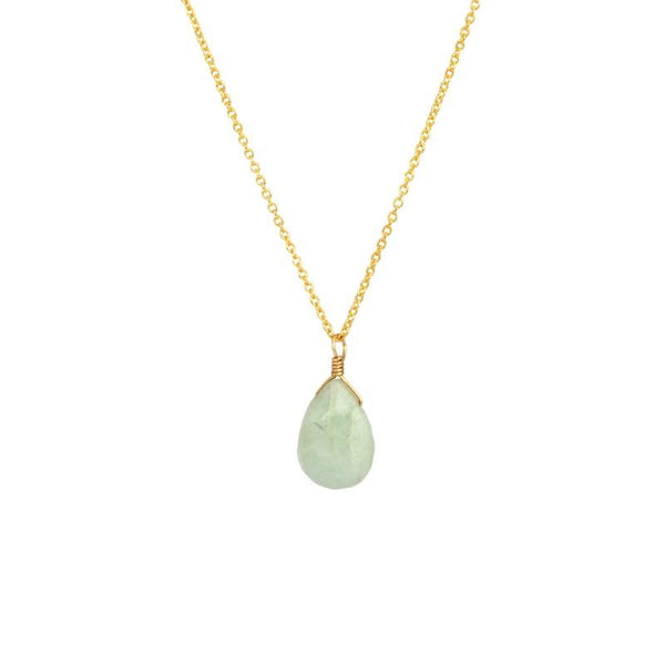 Milky Green Aquamarine pendant necklace in gold