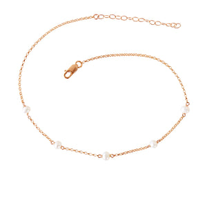 LUNA Pearl Anklet in Rose Gold