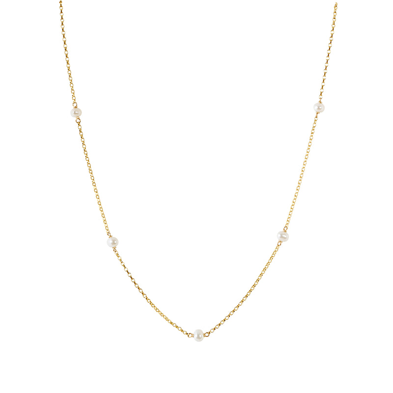 LUNA Baby White Freshwater Pearl Choker Necklace in 14k Gold