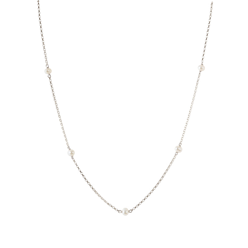 LUNA Baby White Freshwater Pearl Choker Necklace in Sterling Silver
