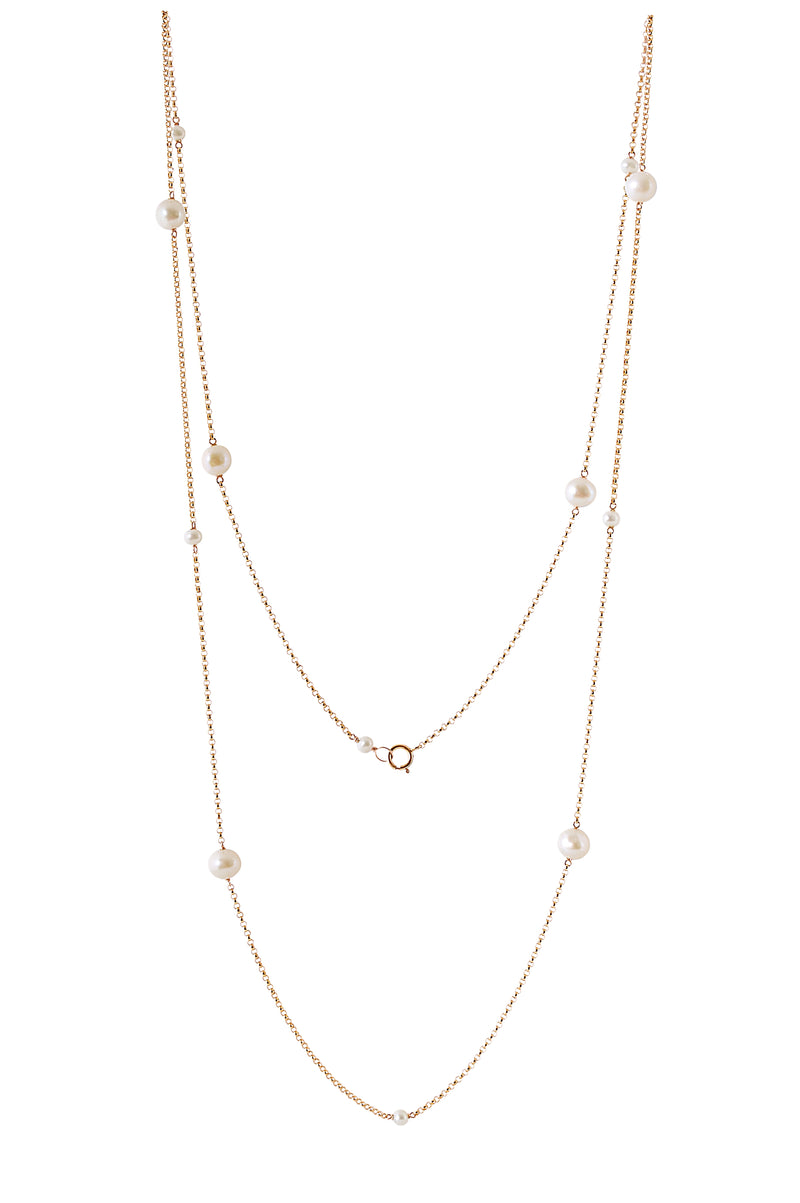 White Freshwater Pearl Necklace in Rose Gold