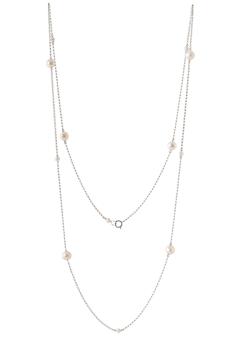 Long Pearl Necklace in Sterling Silver