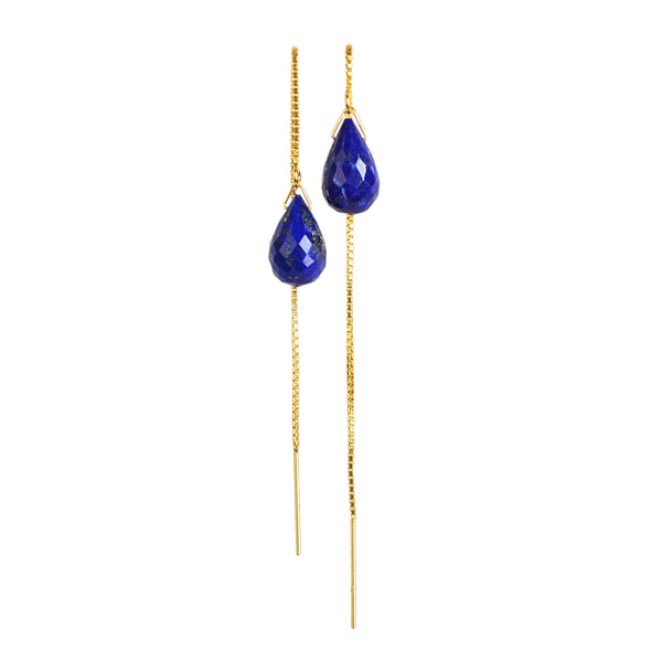 Lapis Lazuli Drop Threader Earrings