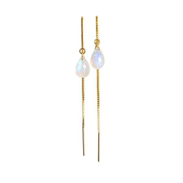 Rainbow Moonstone Drop Threader Earrings