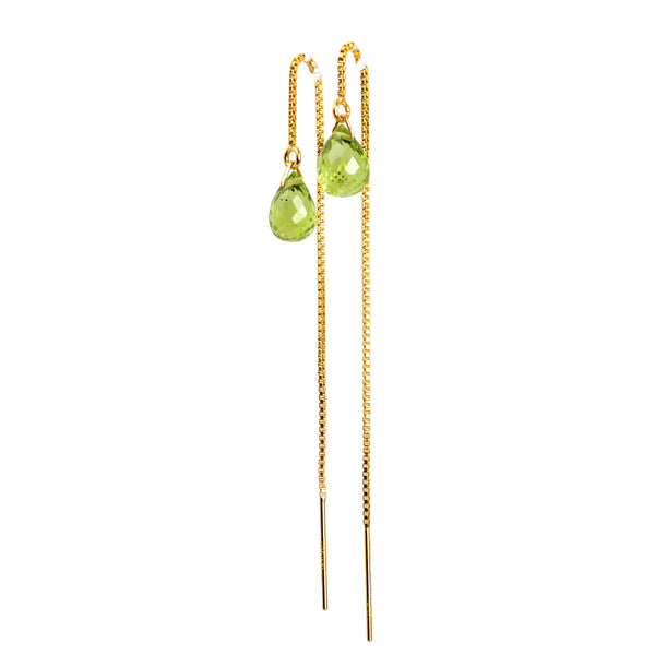 Peridot Drop Threader Earrings