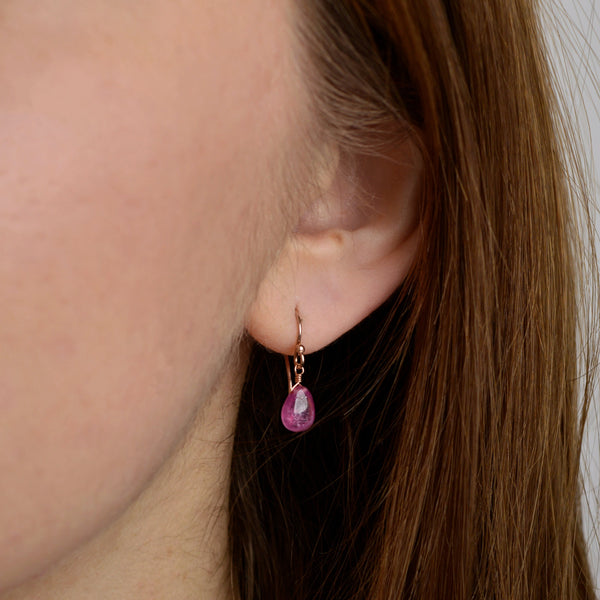 Pink Sapphire Dangle Earrings french in Rose Gold