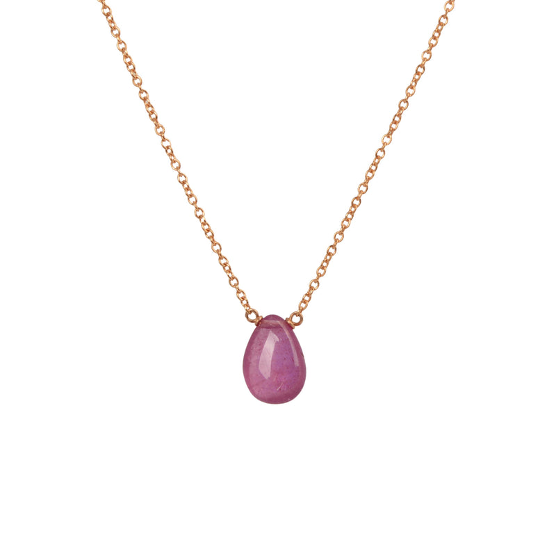 Pink Sapphire Necklace in Rose Gold