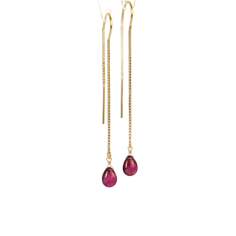 Pink Rubellite Tourmaline Threader Earrings