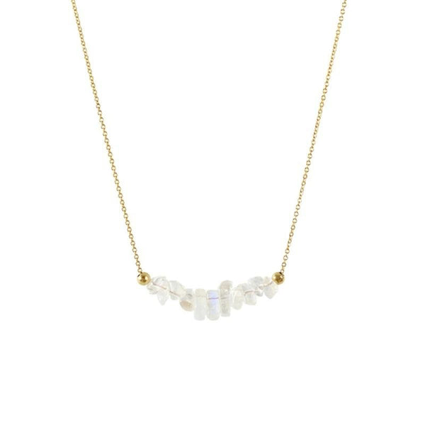 Rainbow Moonstone Bar Necklace in gold - Jewlery by Boutique Baltique