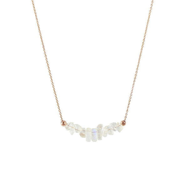 Rainbow Moonstone Bar Necklace in rose gold - Jewlery by Boutique Baltique