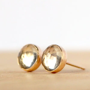 Rock Crystal Stud Earrings, Rose Cut - Boutique Baltique