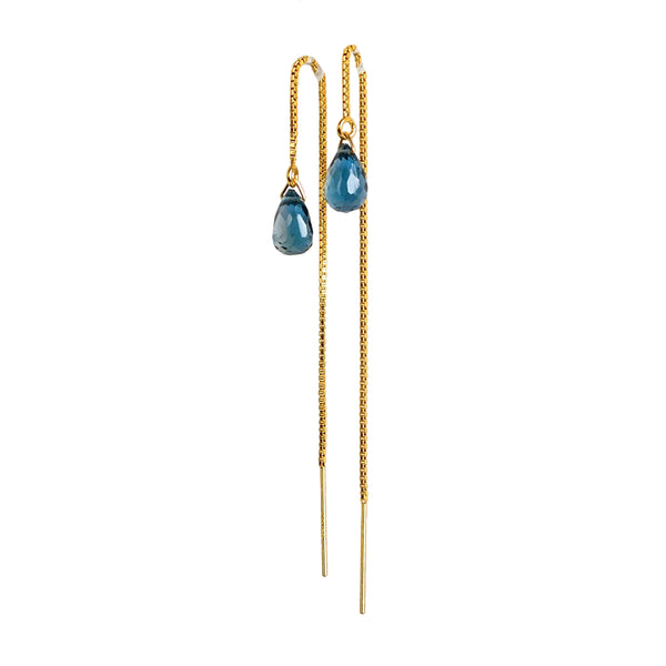 London Blue Topaz Drop Threader Earrings