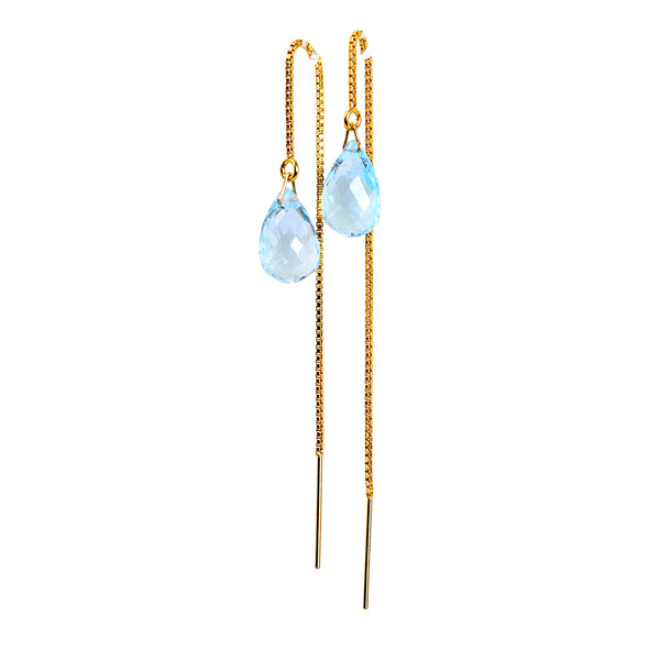Sky Blue Topaz Drop Threader Earrings