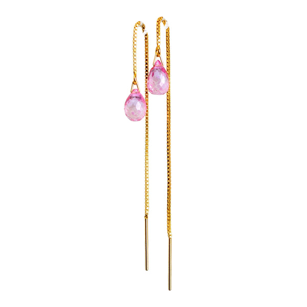 Pink Topaz Drop Threader Earrings