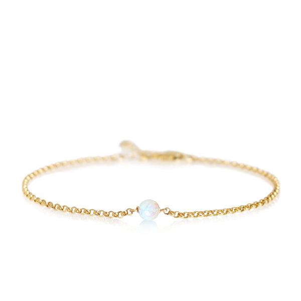 Dainty Opal Bead Anklet