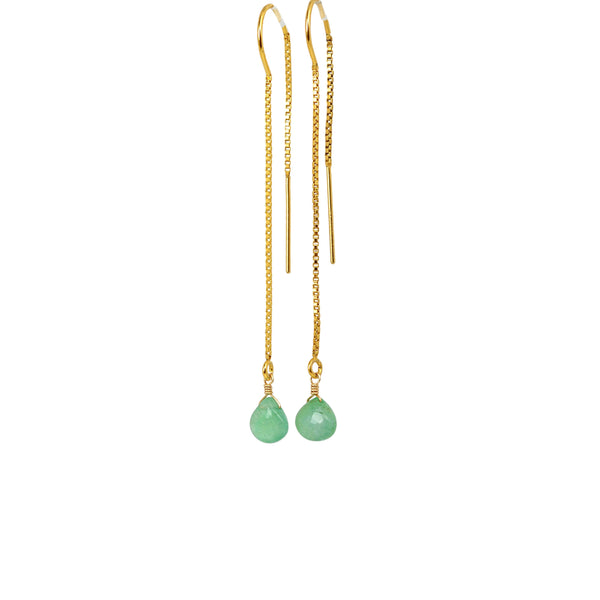 Zambian-Emerald-Threader-Earrings-Gold-U-Shape