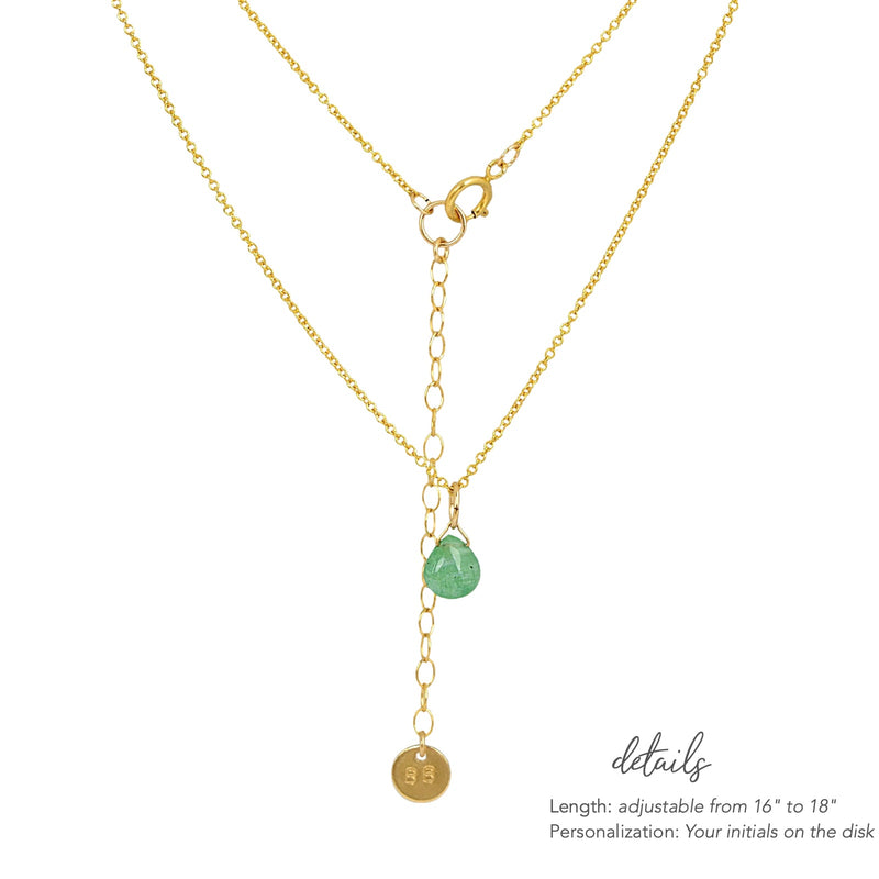 Zambian Emerald necklace in Gold