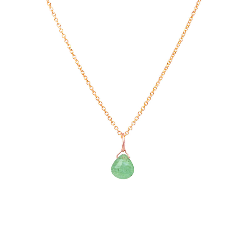 Zambian Emerald necklace in Rose Gold