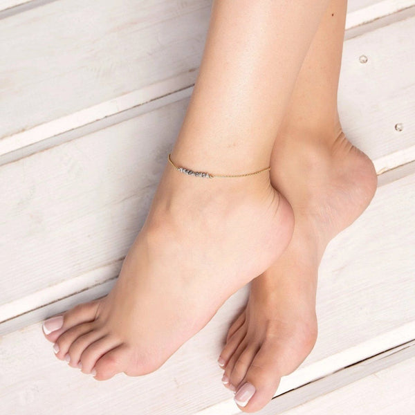 Raw Gray Diamond Anklet - Salt and Pepper - Boutique Baltique