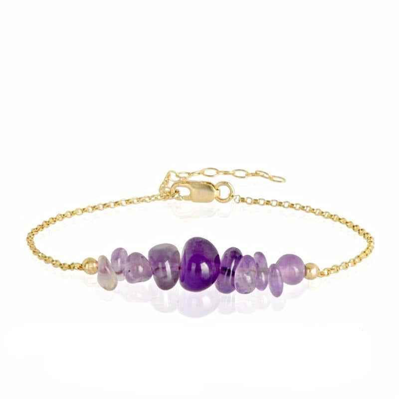 Raw Amethyst Bracelet in gold - Jewlery by Boutique Baltique