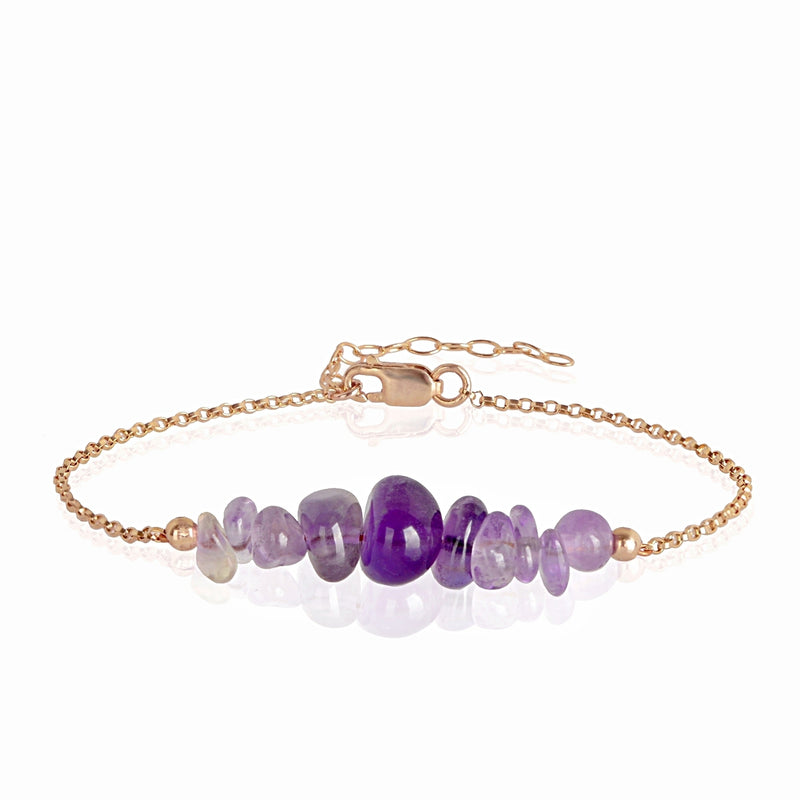 Raw Amethyst Bracelet in rose gold - Jewlery by Boutique Baltique