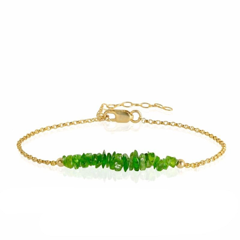 Raw Chrome Diopside Bracelet in gold - Jewlery by Boutique Baltique