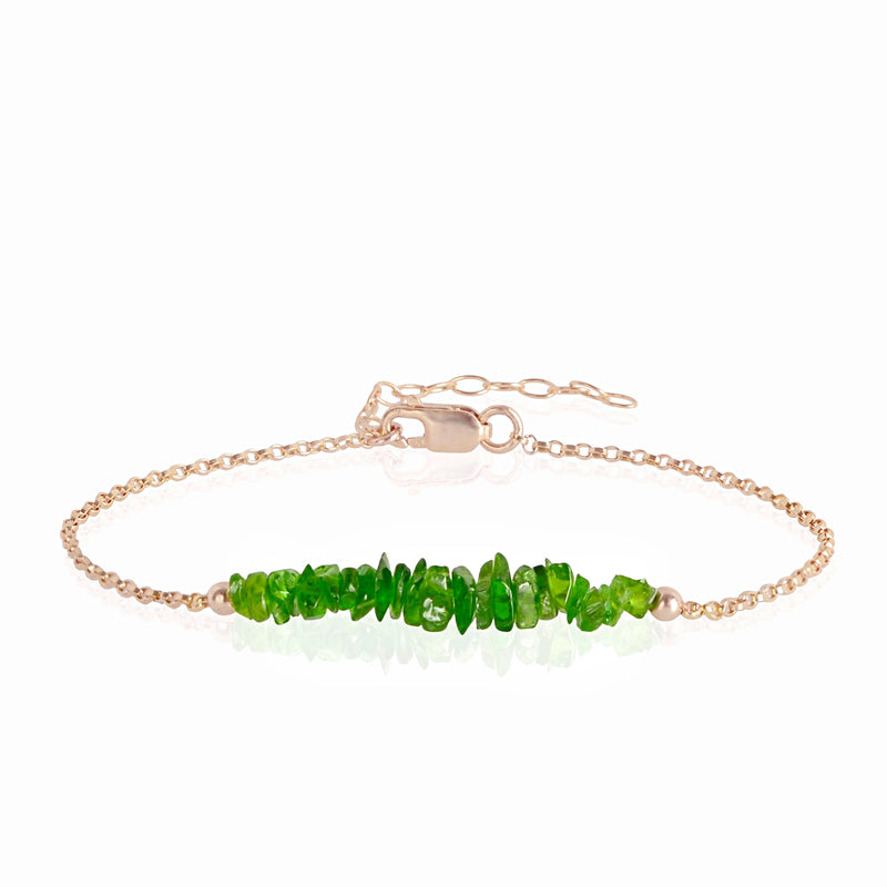 Raw Chrome Diopside Bracelet in rose gold - Jewlery by Boutique Baltique