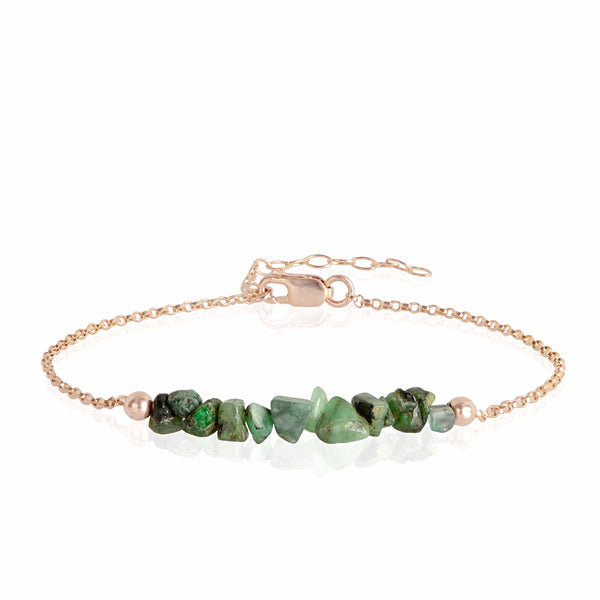 Raw Emerald Bracelet in rose gold - Jewlery by Boutique Baltique